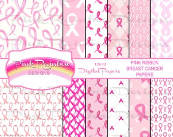 Pink Ribbon Breast Cancer Awareness Pattern Digital Scrapbook Paper | Survivor | Fight Cancer | October | Hope | Cure