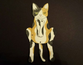 Cat Moveable Paper Doll/s (golden brown, black & white)