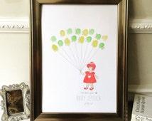 Baby Shower Keepsake Art - Cute girl drawing - personalised for baby - with FREE ink pad - Nursery Art