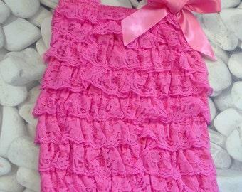 Petti Lace Romper - watermelon romper - baby romper - shabby chic petti lace romper - pink romper - lace romper - vintage-style romper