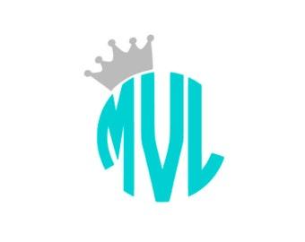Crown Circle Monogram Decal / Crown Decal / Circle Monogram