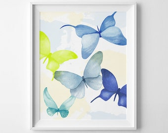 Wall Art Printable, watercolor Butterflies, blue, butterfly print, DIY wall art, statement print, 8 x 10in, lime, wall decor
