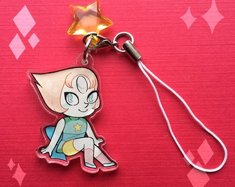 "1.5"" Steven Universe Pearl Charm Clear Acrylic"