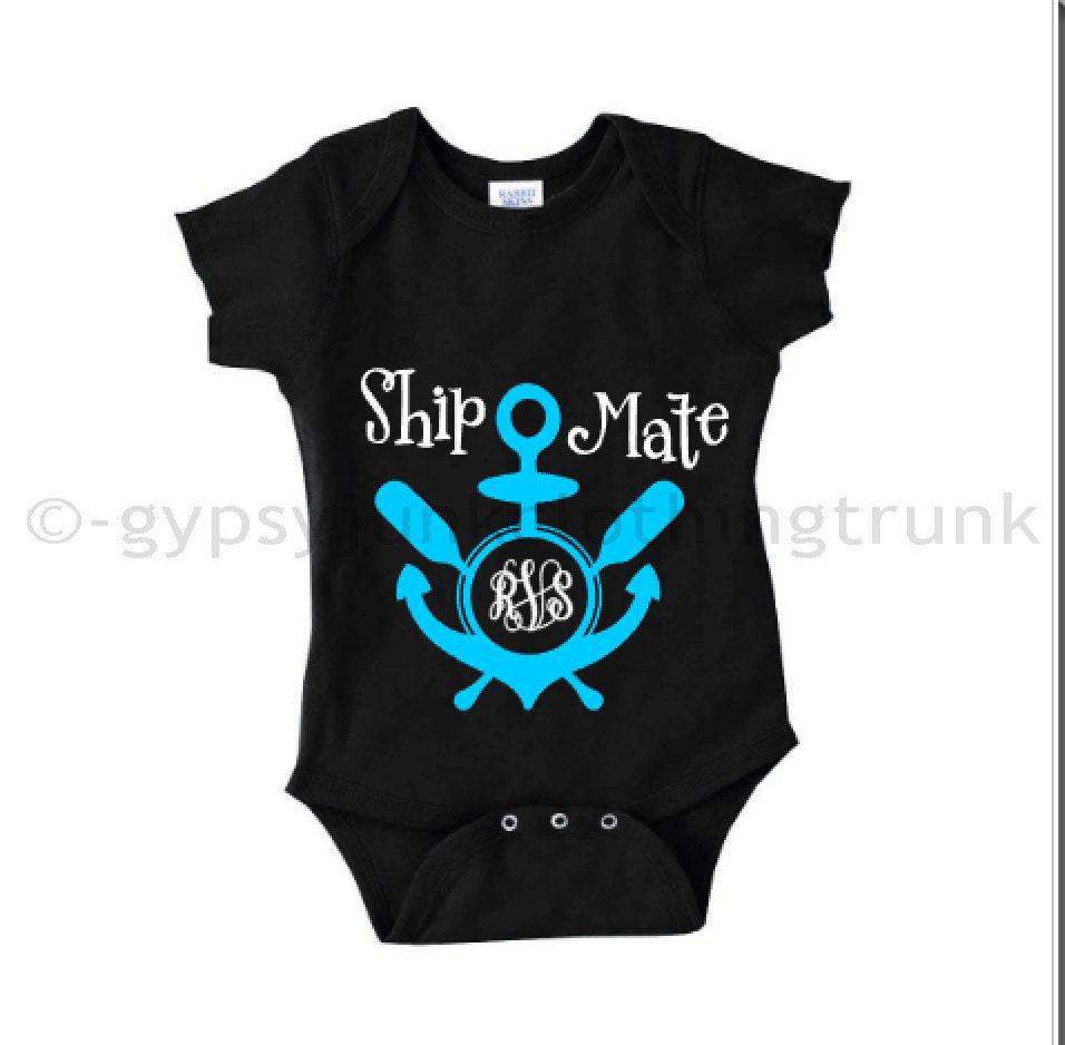 nautical baby bodysuit monogram anchor onesie unisex baby