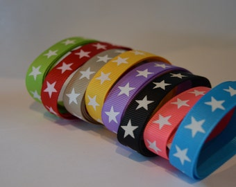 "8 meter grosgrain ribbon with stars 3/8"""