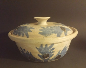 Primitive Salt Glazed Pottery Dish With Lid