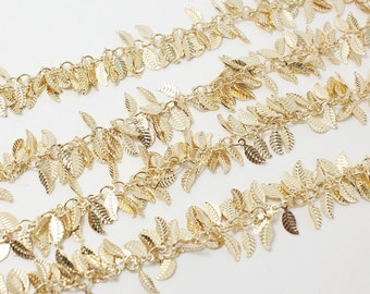 N0025/Anti-Tarnished Gold Plating Over Brass/Leaf Chain/4 x 9 mm/1yard