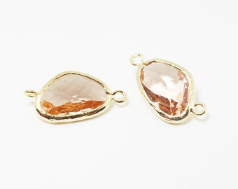 G002509/Light Peach/Gold plated over brass/Triangle faceted glass Connector/21x11mm/2pcs