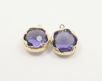 G001403/Tanzanite/Gold plated over brass/Honeycomb faceted glass pendant/13.7x 15.9mm/2pcs