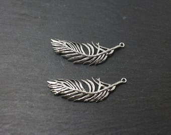 P0175/Anti-Tarnished Matte Rhodium Plating Over Brass/Orchid Leaf Pendant/36x 13mm/2pcs