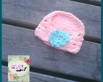Crochet Baby Hat/ baby girl hat/ peach/ teal/ flower/ baby shower gift/ ready to ship/ fast shipping