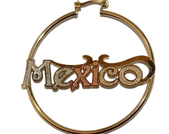 Mexico Three Tone Hoops 18K Gold Plated Hoops - Mexico Hoops