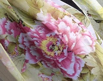 Scarf shawl wrap sarong cover up Fichu with green yellow pink flowers multi birthday wedding party