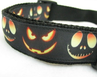 Jack O Lantern Faces Collar - MULTIPLE SIZES AVAILABLE