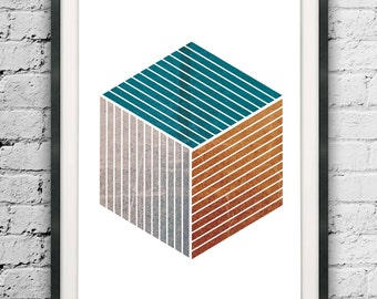 Cube Print, Scandinavian, Nordic Style, Cubic Poster, Line Illusion, Hexagon Wall Hanging, Home Design, Line Art, Abstract Square Printable