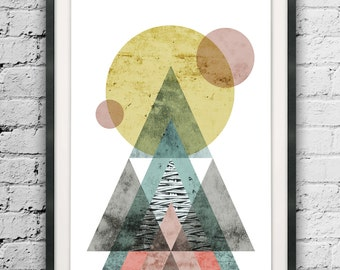 Geometric Wall Art, Abstract Triangles, Large Size Print, Mid Century Abstract, Circle, Triangle Print, Muted Color Abstract Art Printables