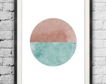 Printable Watercolor Circle, Printable Circle, Mid Century Printable, Digital Download, Nordic Printable, Watercolor Abstract Minimalist