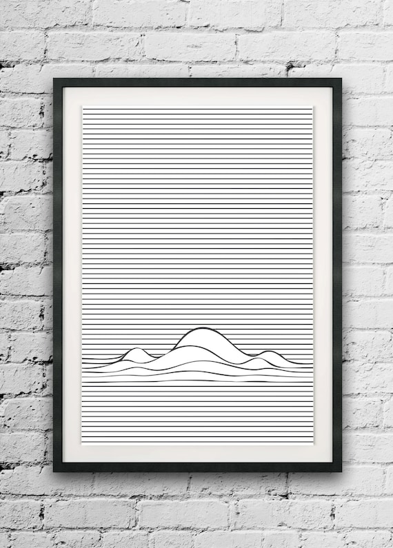 Minimal lines print abstract printable line art line wave for Minimal art wall