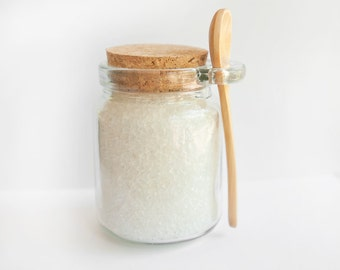 Bath Salts Unscented | Pure Dead Sea Minerals Bath Salts | Gift Jar and Wooden Spoon Sea Bath Salts |  Spa and Relaxation