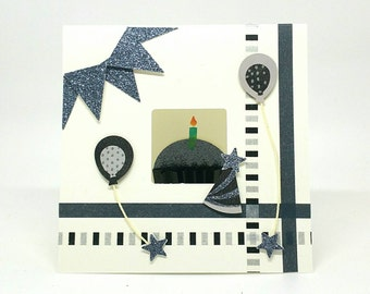 Birthday Card, Pop up Birthday card, Cupcakes, ballons, Candles, washi tape, magnet, black