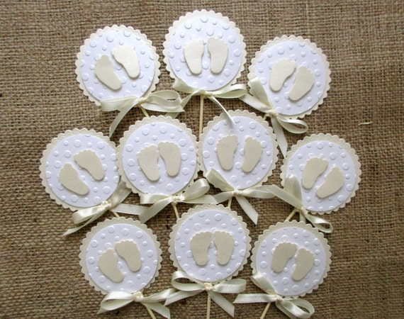 how to make baby feet cupcake toppers
