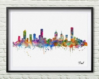 Melbourne Skyline Print Watercolor City Melbourne City Map Wall Art Decor  Home Decor Wall Hanging Art