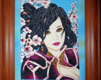 """Embroidered cross pattern """"the Chinese woman"""""""