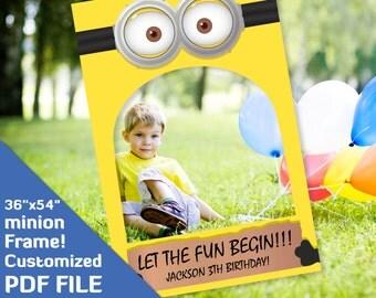 "minion birthday party favors, minion photo booth prop, printable frame backdrop, photobooth frame, photobooth props birthday, 36x54"" PDF fun"