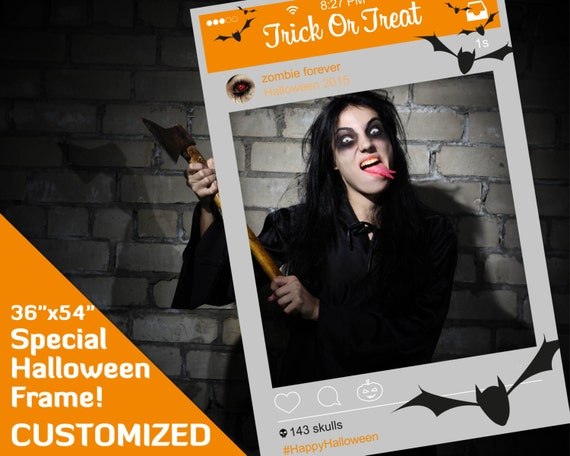 """Photo booth props, halloween party decorations, halloween photo booth props, zombie decor Customised 36""""x54"""" PDF file, instagram frame prop"""