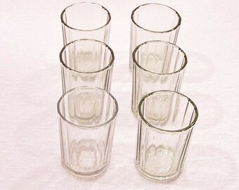 Vintage Faceted Glasses. 6 Small Vodka Glasses in One Listing. Soviet Set of Vodka Shot Glasses. Gift for him.