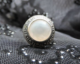 Mother of Pearl White Stone Ring Sterling Silver