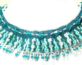 Beadwork Choker Statement Necklace,Handmade Necklace,Beaded Necklace