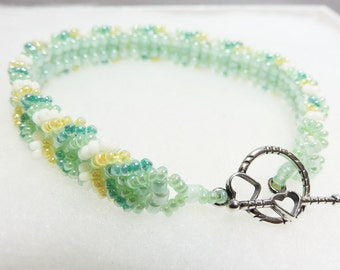 Bracelet Beadwork Yellow and Green