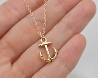 Gold Anchor Necklace, Tiny Anchor Necklace in Gold, Mini Anchor Gold Necklace, Nautical Necklace, Cruise Jewelry, Bridesmaid Gift 0333