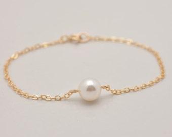 Gold Pearl Bracelet, Pearl Gold Bracelet, Floating Pearl Bracelet in Gold, One Pearl Gold Bracelet, Real Gold Filled, Bridesmaid Gift 0329