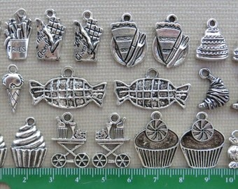 Snack & Sweets Charms Pendants; Silver Toned Zinc Alloy; Set of 22