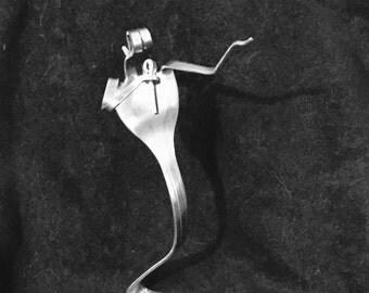 Fork Art silverware Singer figurine