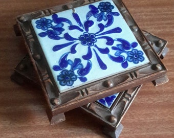 Two Mexican tile trivets