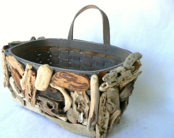 """Driftwood Wall Basket-Made from wood splint-Loop at back to hang-Encrusted with natural drift wood pieces that covers front & sides 11""""x6x7"""""""