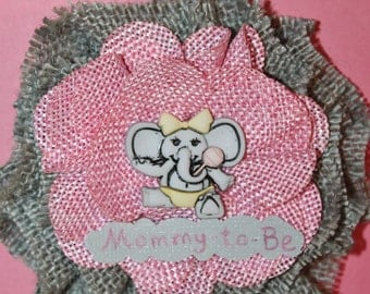 Elephant Grey Burlap Mommy-to-Be Corsage with Pink Flower/ Safari Mommy-to-Be Corsage/ Elephant Mom-to-Be Corsage/ Elephant Baby Shower Gift
