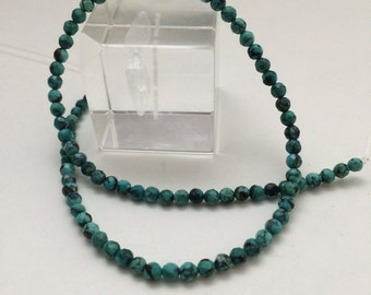 4.5mm Approx  faceted rounds turquoise beads greenish blue turquoise beads from Hubei, China. 16 inch strand TP208