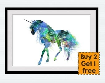 Unicorn art print Unicorn colorful poster Unicorn watercolor decor Home decoration Kid room wall art Nursery room decor Birthday gift W477