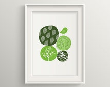 Abstract Nature Green, geometric vector line art, nursery art, office art, wall art, home decor, art print, printable, bird, leaf, flower,