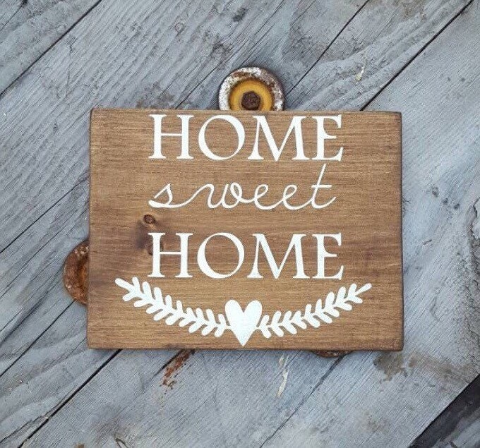 Home sweet home wood signs sayings rustic wooden home decor for Home decor quotes signs
