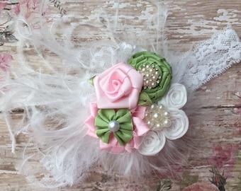 Vintage baby headband-feather baby headband-vintage newborn headband-feather newborn headband-pink and lime green headband-vintage feather