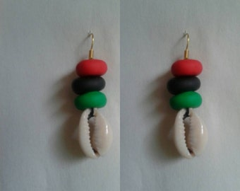 Red black and green hand made RBG beads with shell earrings