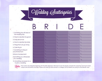 Bridal Shower Scattergories Instant Download Printable 8.5x11 PDF & JPEG