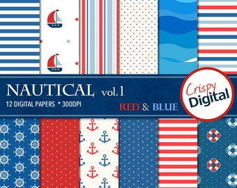 Nautical Digital Papers Red and Blue 12pcs 300dpi Digital Download Sailing Collage Sheets Scrapbooking Nautical Printable Paper