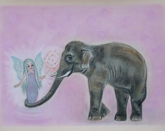 Made to order Original painting Pastel drawing Fairy and elephant  Elephant pastel Fairy pastel Fairy trend Elephant trend Baby room