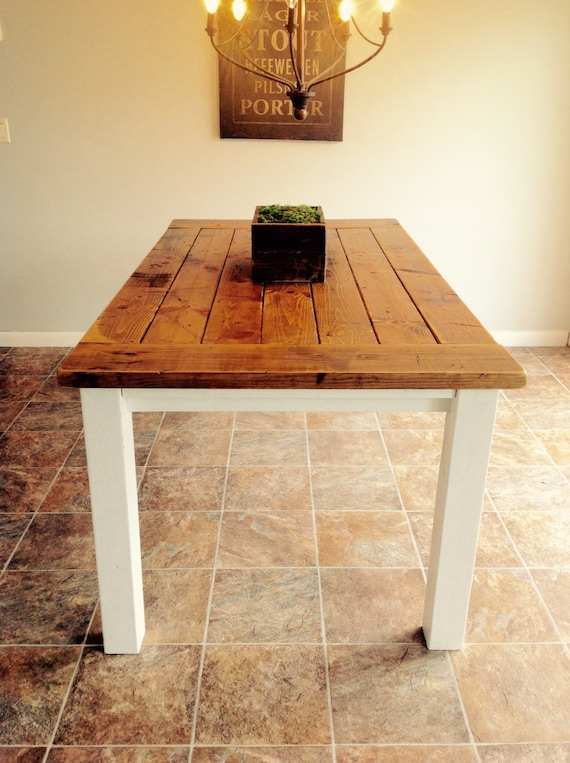 Farmhouse table rustic dining room 6 foot by uncorkedwoodwork for 5 foot dining room table